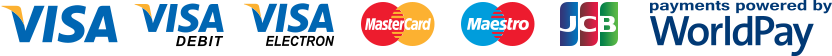 Visa Credit, Visa Debit, Visa Electron, MasterCard Credit, MasterCard Debit, Maestro, JCB, Payments powered by WorldPay