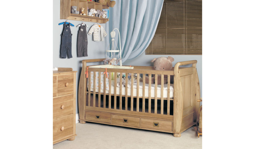 Amelie Oak Cot-Bed with Drawers.