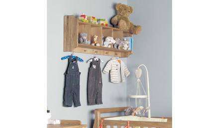 Oak Wall Shelf with Hanging Peg and Clothes