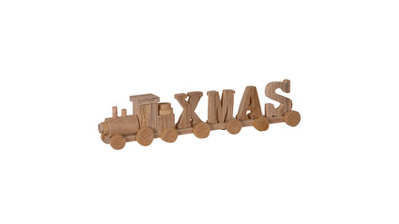 Wooden X.M.A.S Train Christmas Decoration
