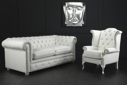 Chatsworth Chesterfield 2 Seater Sofa with Scroll Chair