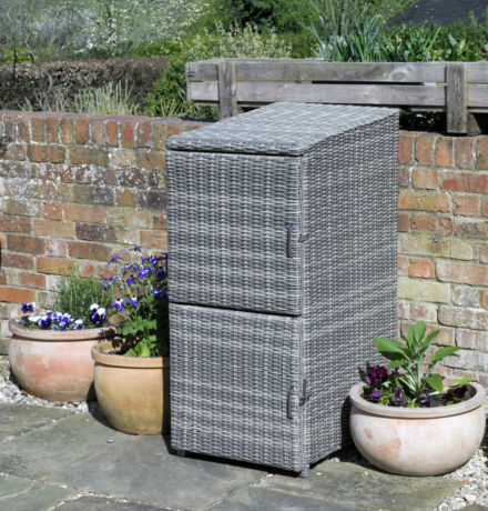 Round Weave Wicker Double Recycle Box Hideaway