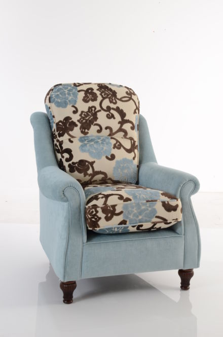 Made to order Henley Chair in Brown and Blue Pattern