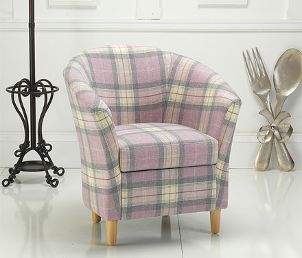 Tartan Tub Chair Purple