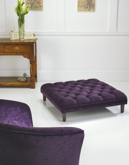 Tub Chair with Purple Puff