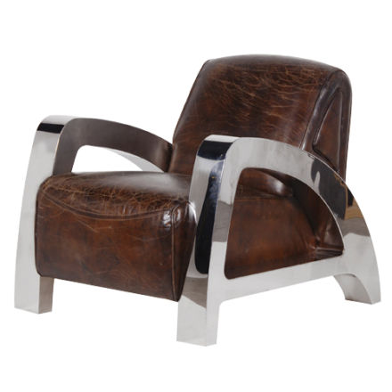 LEATHER & STEEL LOW CHAIR