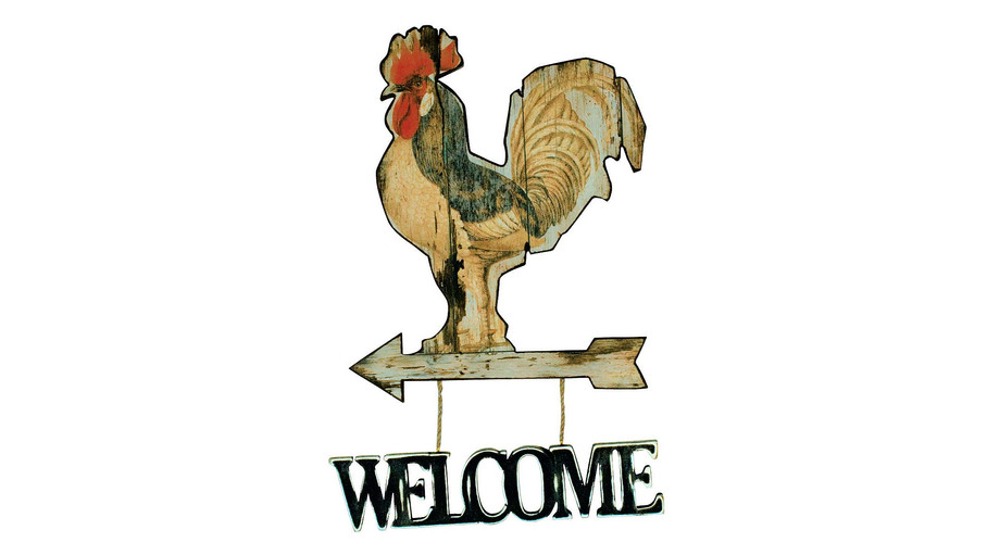 Cockerel Welcome Sign