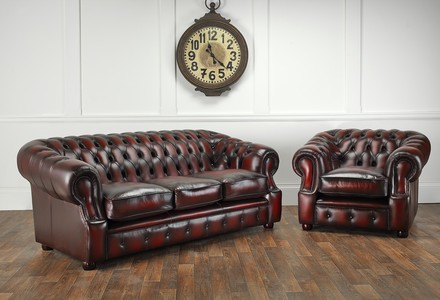 Windsor leather three seater sofa and chair